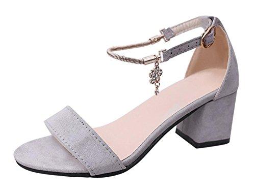 Kopf Riemen Sandalen Mit Hausschuhe Fisch Kühlen diamant Art Grey Absätzen wort Niedrigen Metall Frau 0BTnE1x7