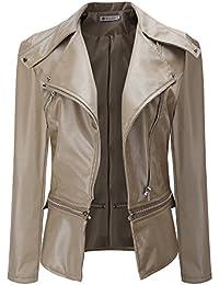BHYDRY Hiver Chaud Femmes Faux Col Manteau Court Veste en Cuir Parka Manteau Outwear