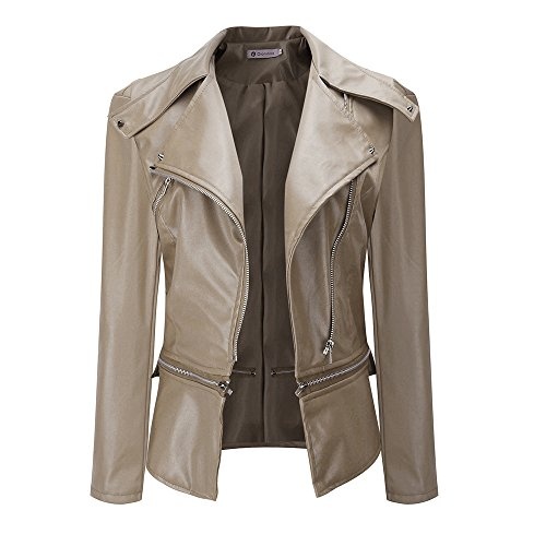 TOPKEAL Dick Jacke Warm Kragen kurz Mantel Damen Herbst Winter Sweatshirt Hoodie Pullover Outwear Coats Mode Tops (Large,Khaki)