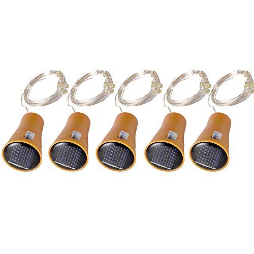 Kingko® 5 STÜCKE 2M Solar Kork Weinflasche Fairy Light Licht Lampe garten licht licht beleuchtung vintage lichterkette halloween deko Weihnachtsbeleuchtung garten solarleuchten (Gelb)