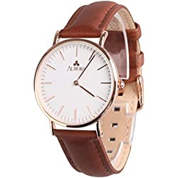 Aurora Women's Metal Retro Casual Round Dial Quartz Analogue Wrist Watch with Brown Leather Band-Rose Gold