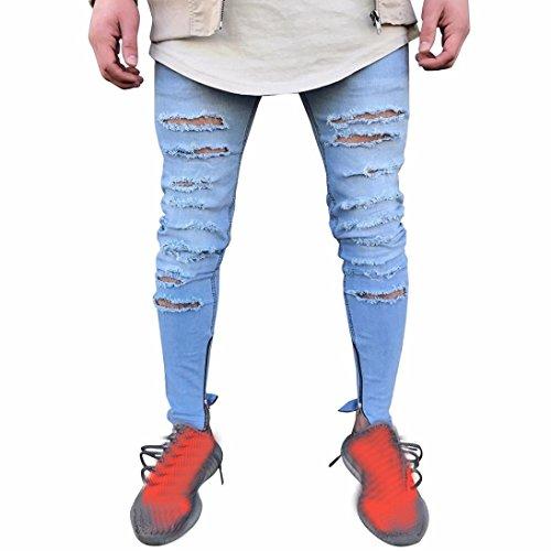 Motorrad Loch Jeans Herren, DoraMe Männer Stretchy Skinny Falten Hosen Biker Destroyed Jeans Slim Fit Denim Hosen(Bitte wählen Sie größere Größe als üblich) (Blau, Asien Größe 34) (Herren-casual-motorrad)