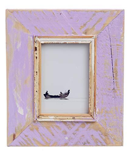 HOUTWERKER Rustikaler Vintage Retro Bilderrahmen Foto-Rahmen aus Echt-Holz - gefertigt in Handarbeit - lila - Fotogröße 10x15cm - A6