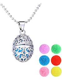 SUPVOX Aromatherapy Essential Oil Diffuser Necklace Locket Pendant Stainless Steel Perfume Necklace with 6 Color Pads