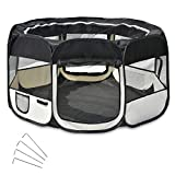 Wellhome 8-Panel Pieghevole Recinto per Cuccioli Box per Cane Gatti Animale Domestico Oxford 125 x 64cm Nero