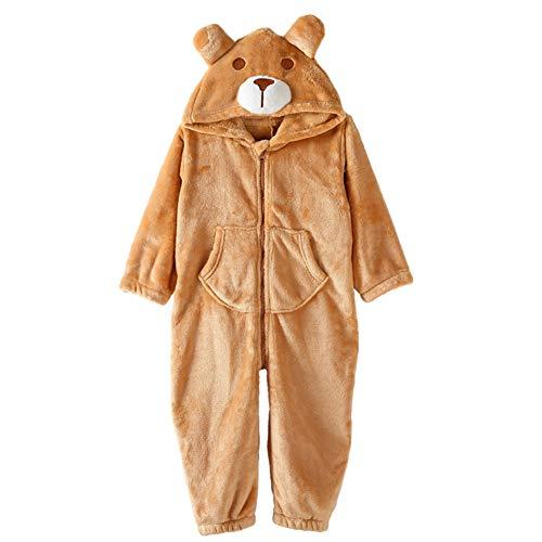 ZWZH Kids Cute Hooded Sleepsuit Jumpsuit Playsuit Cartoon Bear Animal Pajamas Halloween Cosplay Kostüm weich und komfortabel,S