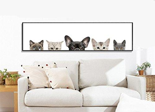 LA VIE Hochwertiger Wandbild Dekoration Ölbild Süße Gucken Hunde und Katzen Leinwanddrucke Bilder Moderne Kunstdruck für Zuhause Wohnzimmer Schlafzimmer Küche Hotel Büro Geschenk 120x30 CM