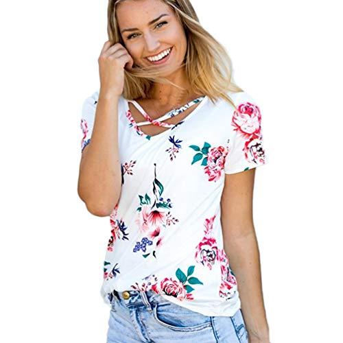 TWIFER Damen Gedruckt Sommer Kurzarm Tank Crop Tops Bluse T Shirt