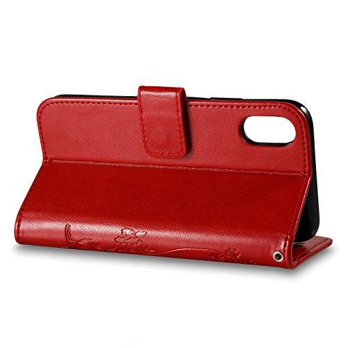 Custodia Per iPhone X, Slynmax Custodia Portafoglio [Cinturino da polso] [Chiusura Magnetica] [Funzione Stand] Modelli A Farfalla in Pelle Stampata in Pelle Con Custodia Di Protezione Completa Con Slo Rosso Scuro