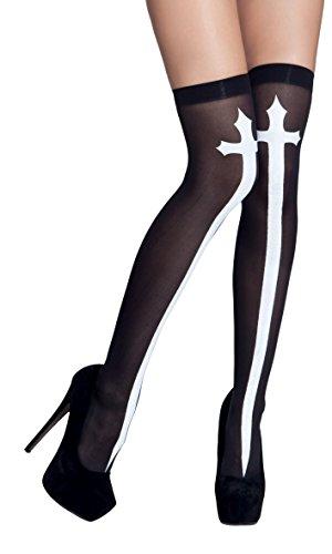 Boland-Halterlose Strümpfe gothic cross Womens, schwarz/weiß, One Size, 87857