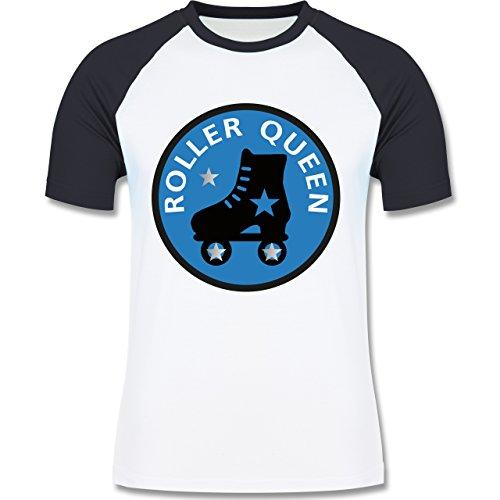 Vintage - Roller Queen Rollschuh - zweifarbiges Baseballshirt für Männer Weiß/Navy Blau