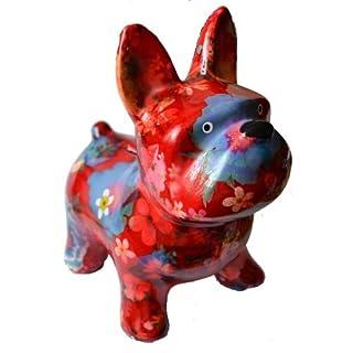 Toller bunter Hund als Spardose mit Blumendekor - rot - aus Keramik ca. 17x11x20 cm groß