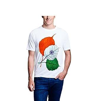 Lime Men's Printed Poly Cotton T-Shirt (White, 38)