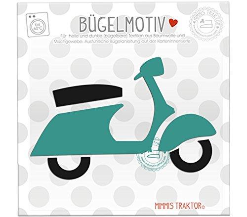 Mimmis Traktor® Bügelbild Roller Moped 13 x 8,2 cm PETROL (Verwendet Moped Roller)