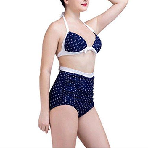PRIDE S Art- und Weisewasser-Anker-Drucken-Bikini-großer Größen-Badeanzug-Dreieck-Badeanzug Blau