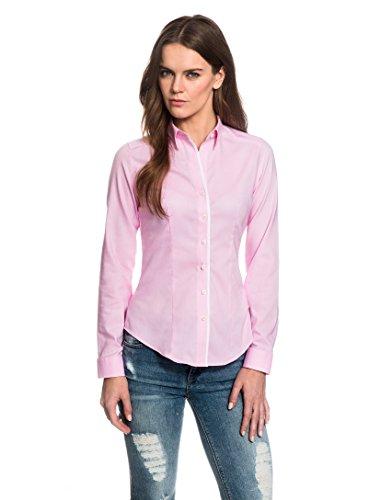 EMBRÆR Damen Bluse Tailliert 100% Baumwolle Oxford Langarm Hemdbluse Elegant Festlich Kent-Kragen Auch für Business und Unter Pullover Rosa 40 (Langarm Damen Oxford)