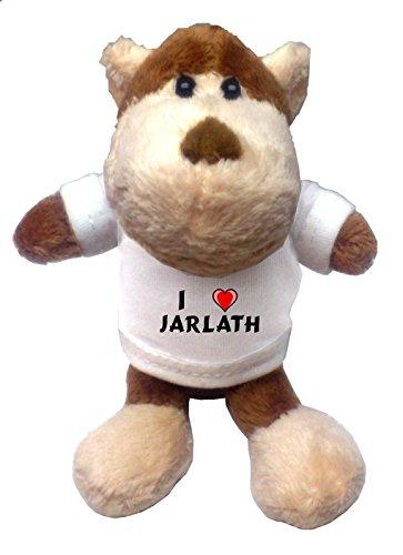 Monkey Plush Keychain with I Love Jarlath (first name/surname/nickname)