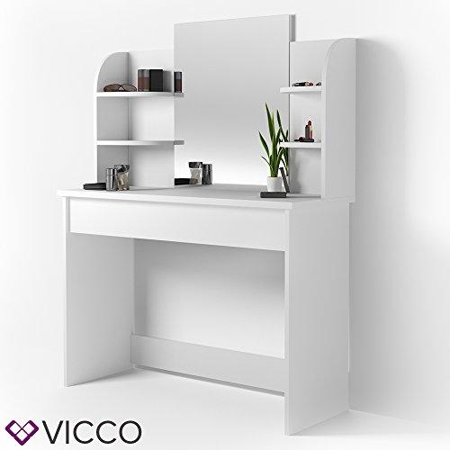 VICCO Schminktisch CHARLOTTE 142 x 108 cm Weiß - Frisiertisch Kommode Spiegel +++ Schminkkommode mit Schubfach- und Regalsystem +++ (ohne Sitzbank)