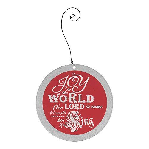 World Dekofigur zum Aufhängen, Metall, 10,2 cm, Rot/silberfarben ()