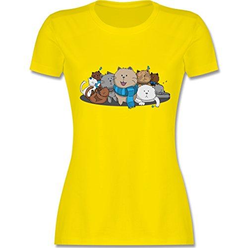 Katzen - süße Katzen - tailliertes Premium T-Shirt mit Rundhalsausschnitt für Damen Lemon Gelb