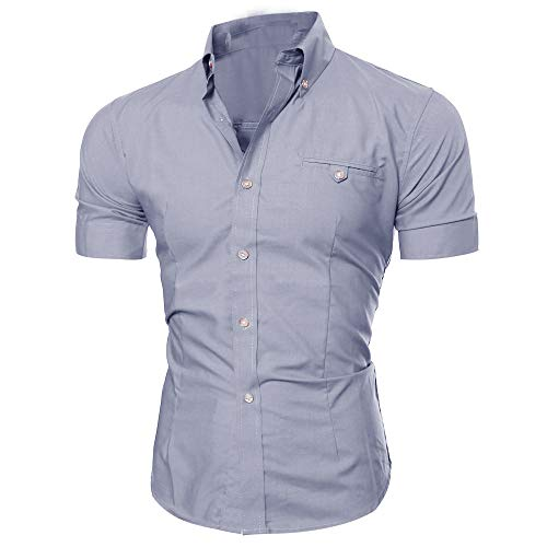 CICIYONER Herren-Hemd - Slim-Fit - Bügelleicht - Business, Hochzeit, Freizeit - Kurzarm-Hemd für Männer M L XL XXL XXXL