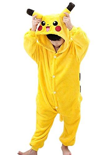 r Overall Unisex Kinder Onesie Anime Weihnachten Halloween Karneval Cosplay Kigurumi Kostüm Outfit Onesies Pyjamas Spielanzug Kleidung Piece Suits (Pikachu Kostüm Tragen)