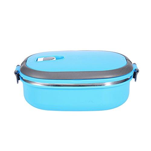 Isolamento termico in acciaio inox per il pranzo yosoo portatile isolamento termico permeabilità proof 1 interno/2/3 scomparti con manico food contenitore per cibo 1 layer-rechteck blu