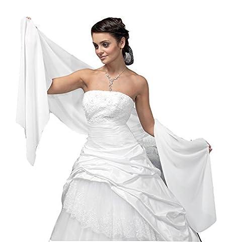 Châle en mousseline large pour robe de soirée/cocktail, tissu fluide et légèrement luisant - blanc - Taille Unique