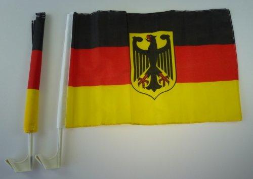 2 Stück Autofahnen in BRD Farben mit Bundesadler, WM, EM, Fanartikel, Deutschland, Autoflaggen, Deutschland Fanartikel