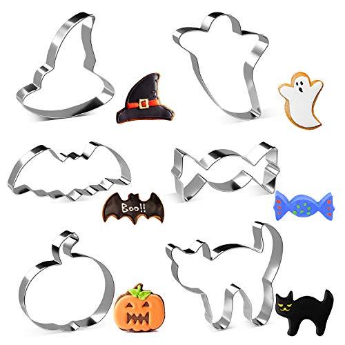 Joyoldelf Halloween Ausstechfomen Set - 6 Stück Edelstahl Keksausstecher von Kürbis, Hexenhut, Geist, Süßigkeiten, Fledermaus, Katze Plätzchen Ausstecher für Kinder
