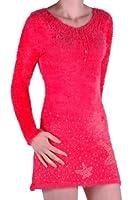 EyeCatch - Womens Woolen Stretch Knitted Long Ladies Jumper Dress One Size