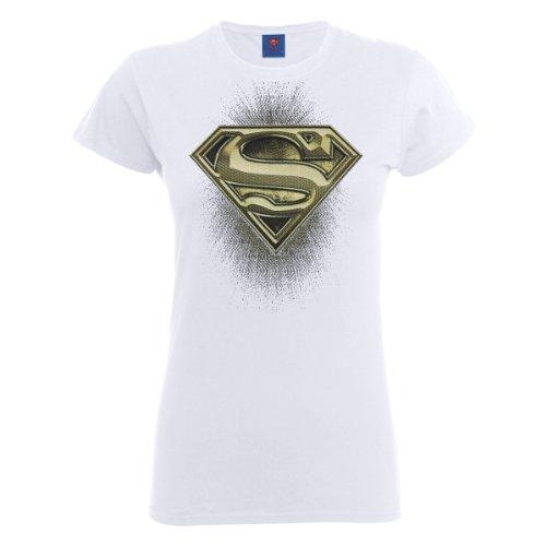 DC Universe Damen T-Shirt Dc Comics Official Superman Engraving Logo Womens T-shirt Weiß - Weiß