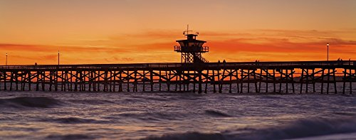 The Poster Corp Richard Cummins/Design Pics - San Clemente Municipal Pier In Sunset Panorama; San Clemente City Orange County Southern California Usa Photo Print (71,12 x 27,94 cm)