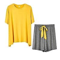 DUe Womens Thin Short Sleeve Regular Fit Scoop Neck Contrast Pj Sets Loungewear 1 OS