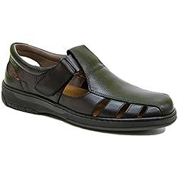 Sandalias Hombre de Piel Confort 24 Horas. Fabricada en España con Pieles 100% Naturales. Sandalias en Color Negro y marrón. Disponibles Desde la Talla 39 hasta la Talla 47 - Primocx Sandal (42)