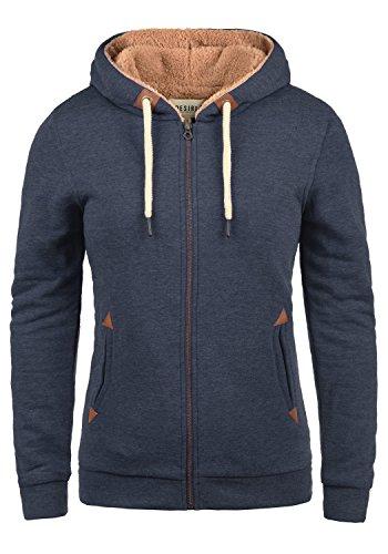 DESIRES Vicky Pile-Zip Damen Sweatjacke Cardigan Sweatshirtjacke Mit Teddy-Futter, Größe:L, Farbe:Insignia Blue Melange (8991)