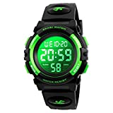 7-Color Kids Boys Digital Watches, Waterproof Outdoor Sports Digital Watches Analogue Watch with Alarm Clock/Timer/LED Light, Electronic Shockproof Wrist Watch for Teenagers Children's Watches Green