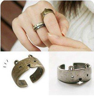 Anelli anello regolabile Fashion VINTAGE simpatico orso 2 pezzi (argento