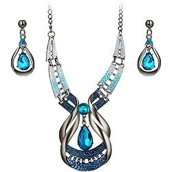 FENICAL set de pendientes collar colgante elegante vintage con Diamantes para mujeres (azul)