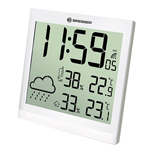 Bresser Wetterstation Wanduhr TemeoTrend JC mit DCF Funkuhr mit großer Anzeige für Temperatur und Luftfeuchtigkeit für Tisch oder Wandmontage inklusive Wettertrendanzeige und Außensensor, weiß