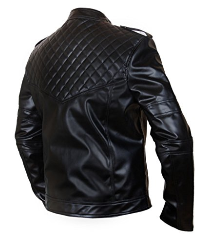 F&H Men's Batman Christian Bale Genuine Leather Quilted Details Jacket Black