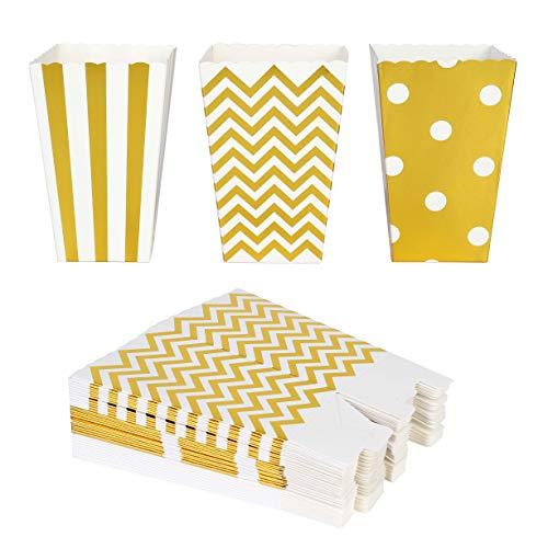 QIMEI-SHOP Popcorn-Boxen 36 Stück Popcorn Tüten Pappe Candy Container für Party Snacks Süßigkeiten Popcorn und Geschenke 12*7 cm (Gold)