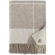 Linen & Cotton Manta Plaid de Sofá/Cama Olivia de 100% Pura Lana Merina