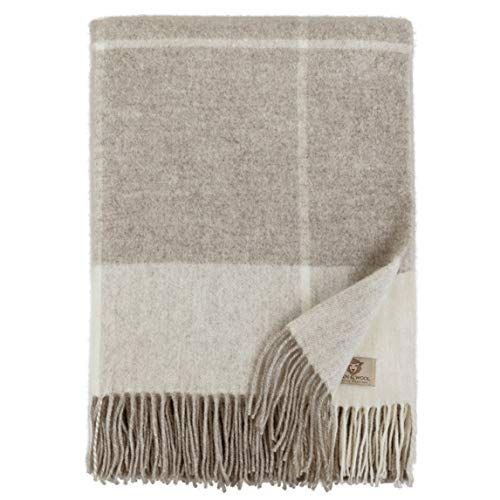 Linen & Cotton Plaid, Couverture en Laine, Couvre-Lit de Luxe Olivia - 100% Laine Merinos (140 x 200cm) Beige