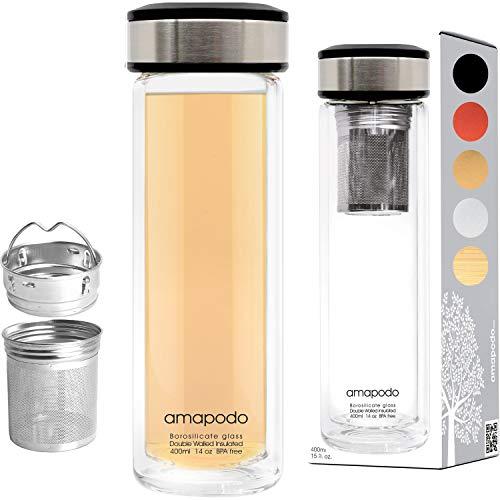 amapodo Teeflasche mit Sieb to go - Trinkflasche, Tee Flasche, Deckel Schwarz, Teekanne Glas doppelwandig, Geschenk, Tea Maker, 400 ml