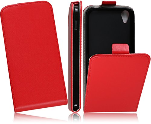 Premium Slim Flexi Handytasche für Alcatel One Touch Idol 3 4.7 Zoll (6039) Flip Case Schutzhülle Slim Design Tasche Hülle Cover Flip Style Klapptasche Vertikaltasche Mit Bruchfester Innenschale (Rot/Red)
