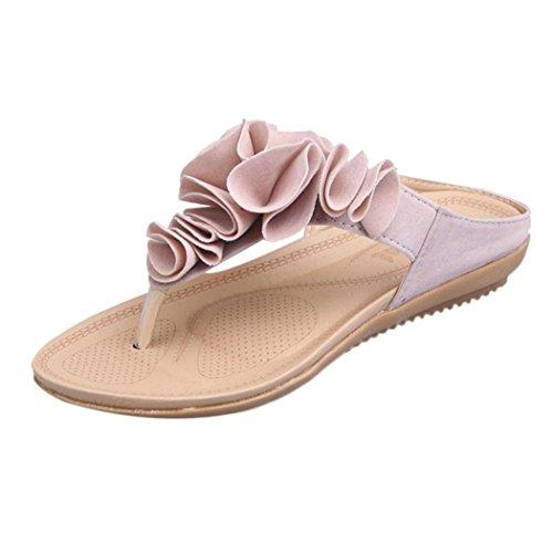 Promotionen UFACE Women's Casual Spitze Verziert Strandsandalen Sommer Strand Flipflops der Frauen BeiläUfige Flache Schuhe Dame Pretty Floral Sandals (37, Rosa)