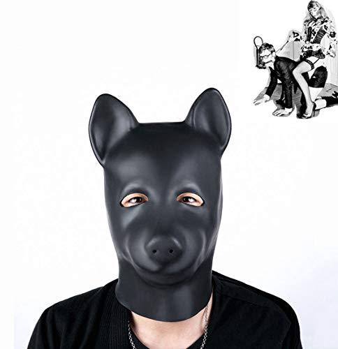 Kostüm Tier Fetisch - BDSM Naturlatex Hund Maske Tier Kostüm Maske, Bondage Fetisch Sklave SM Maske für Cosplay