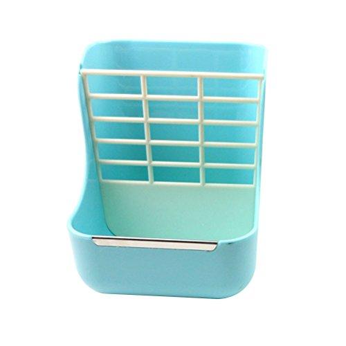 UEETEK Ciotola Gabbia Alimentatore per Animali Piccoli da Appendere con 2 divisori (Azzurro)