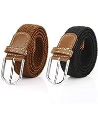 2 Piezas Cinturón Trenzado Elástico de Mujer Cinturones Hombre Elásticos  Tejidos para Jeans Pantalones 79aaa5ef5d36